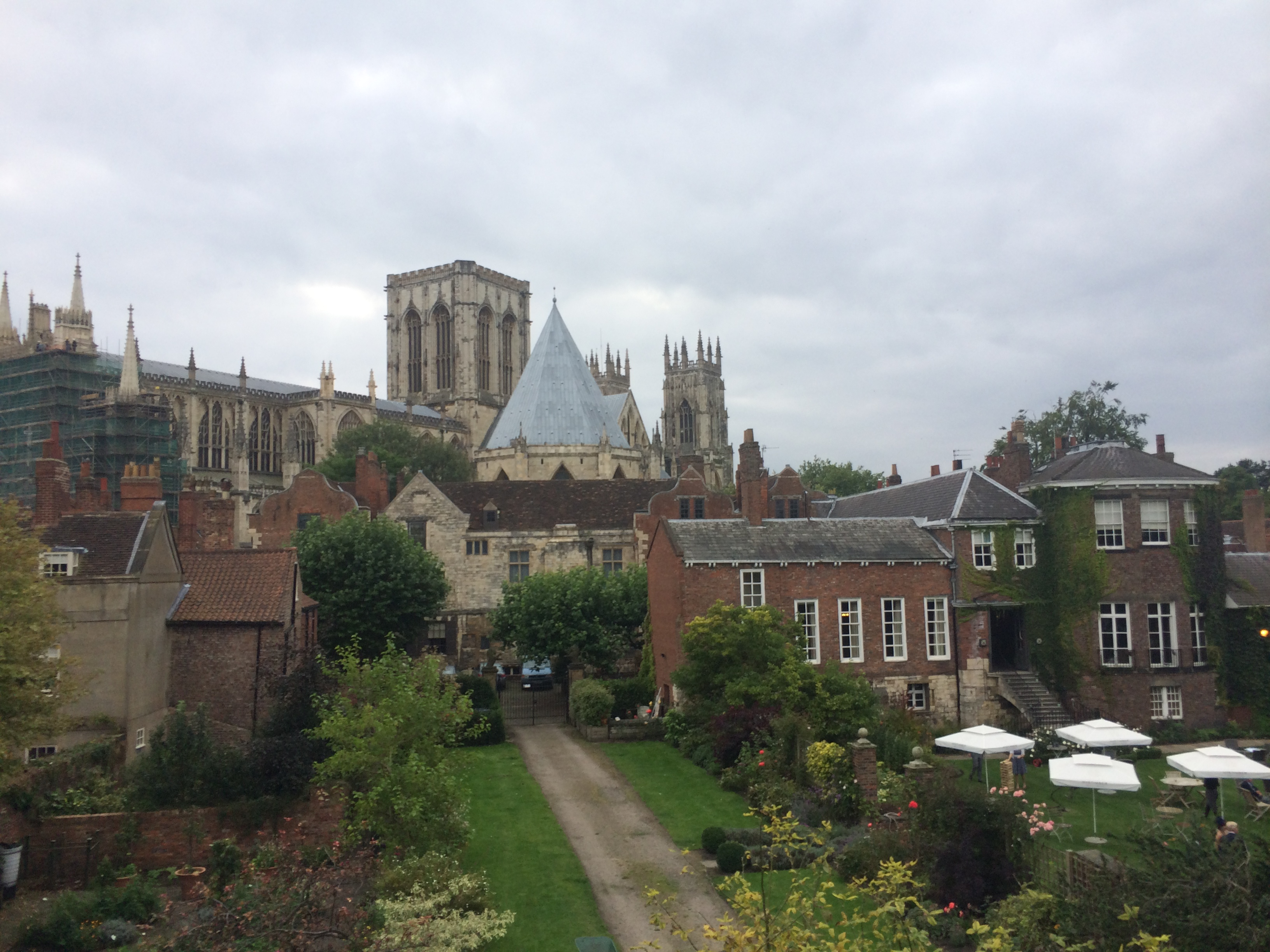View of York Minster taken from the City Walls with Grays Court on the right, Treasurers House and The Chapter House centre in front of the Central Tower of the Minster